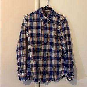 J. Crew Slim Blue/Red/White Flannel Button Shirt